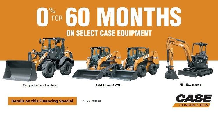 Get 0% Financing for 60 Months on Select CASE Compact Equipment.
