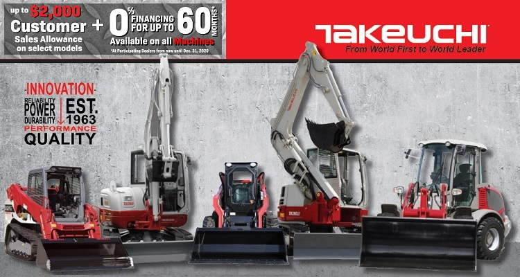 Takeuchi: 0% for 60 Months