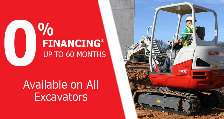 0% Financing for 60 Months on Takeuchi Excavators at Groff Tractor & Equipment